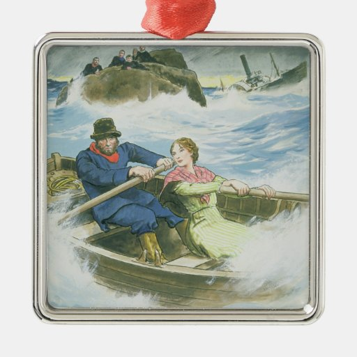 Grace Darling (1815-41) and her father rescuing su Christmas Ornaments