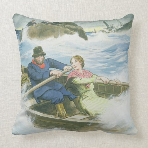 Grace Darling (1815-41) and her father rescuing su Throw Pillow