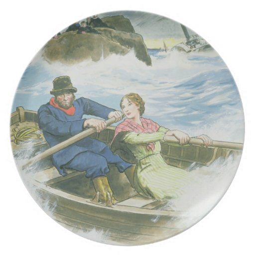 Grace Darling (1815-41) and her father rescuing su Plate