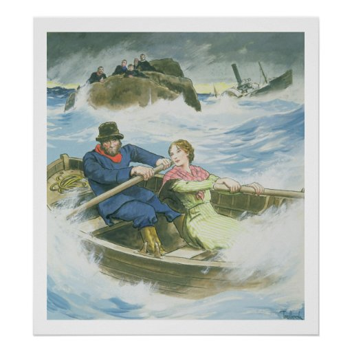 Grace Darling (1815-41) and her father rescuing su Posters