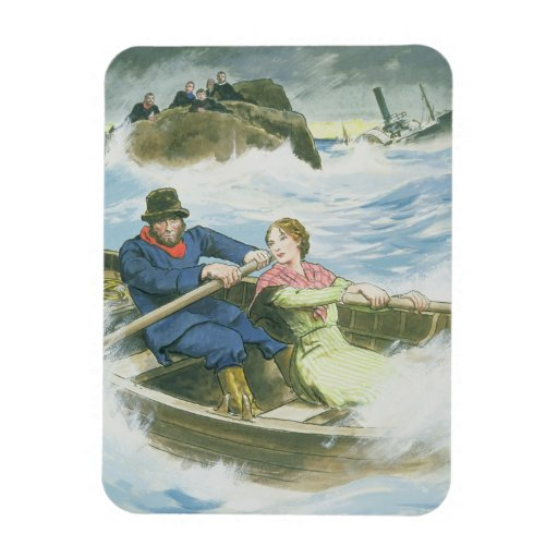 Grace Darling (1815-41) and her father rescuing su Rectangle Magnets