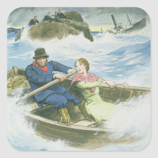 Grace Darling (1815-41) and her father rescuing su Square Sticker