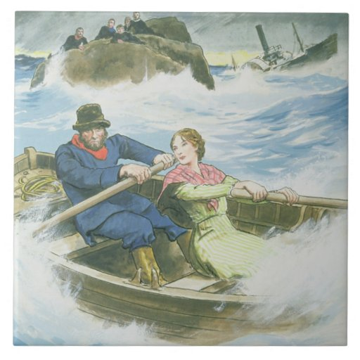 Grace Darling (1815-41) and her father rescuing su Tile