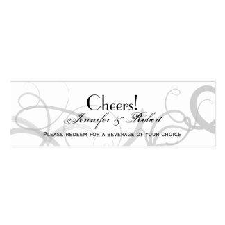 Grace: Dramatic Swirls Grey Wedding Drink Ticket Mini Business Card