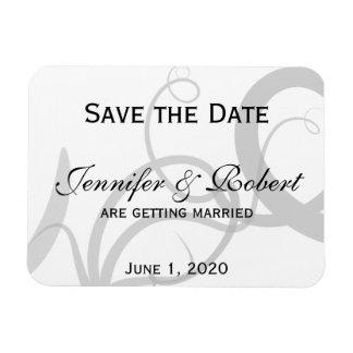 Grace: Dramatic Swirls Grey Wedding Save the Date Magnet