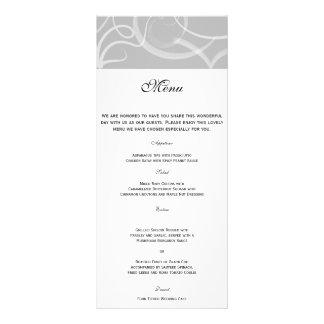 Grace: Dramatic Swirls in Grey Wedding Menu Custom Rack Cards