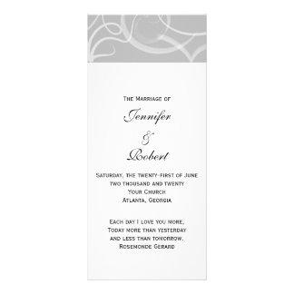 Grace: Dramatic Swirls in Grey Wedding Program Custom Rack Card