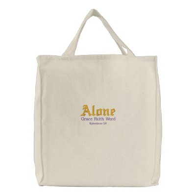 Grace Faith Word Tote Embroidered Tote Bag