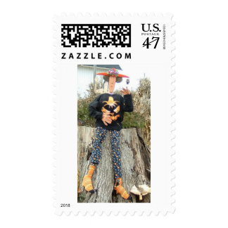 Grace Funny Country Gal on an Autumn Farm Outing Postage