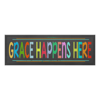Grace Happens Here Colorful Christian Chalkboard Poster