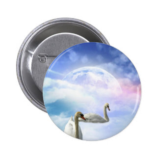 Grace in Space - Swans Swimming 2 Inch Round Button