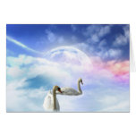 Grace in Space - Swans Swimming Greeting Card