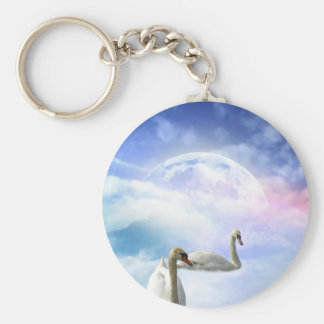 Grace in Space - Swans Swimming Basic Round Button Keychain