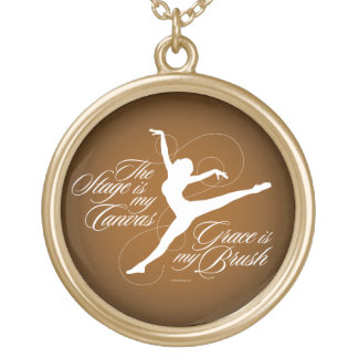 Grace Is My Brush (Dance) Round Pendant Necklace