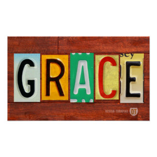 GRACE License Plate Lettering Name Sign Poster