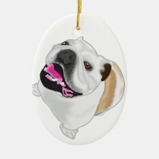 Grace Mertes Bulldog Wyatt Ceramic Ornament