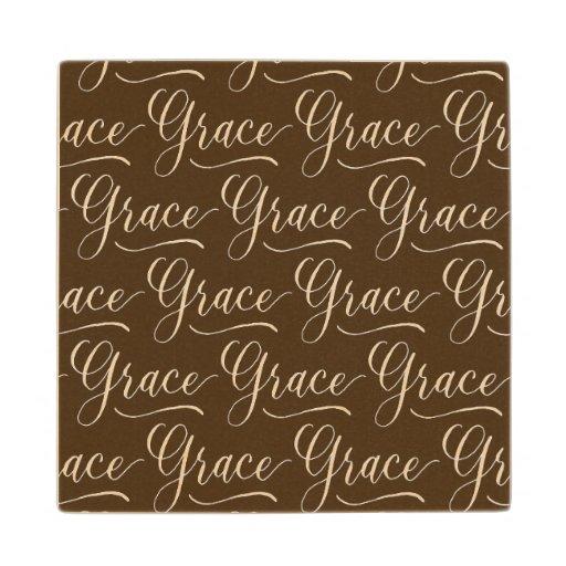 Grace modern calligraphy name design wood coaster zazzle