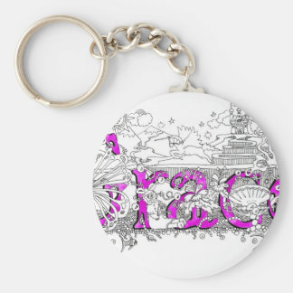 Grace name art with purple name by Dick skilton Basic Round Button Keychain