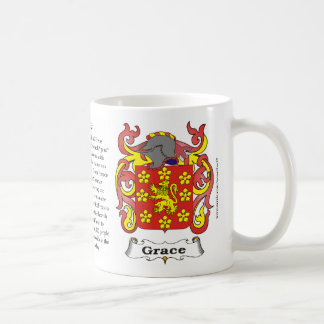 Grace, Origin, Meaning and the Crest on a mug