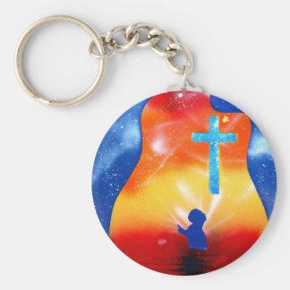 Grace spray painting man under cross basic round button keychain