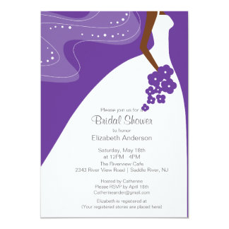 Graceful African American Bride Bridal Shower Card