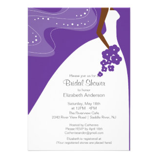 Graceful African American Bride Bridal Shower Personalized Invites