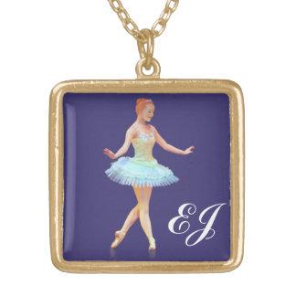 Graceful Ballerina Customizable Monogram Personalized Necklace