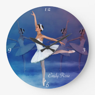 Graceful Ballerina in White Tutu and Ribbon Shoes Large Clock