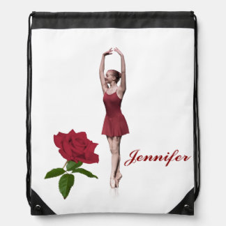 Graceful Ballerina On Pointe Customizable Name Cinch Bags