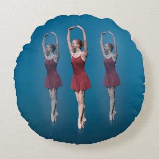 Graceful Ballerina On Pointe Round Pillow