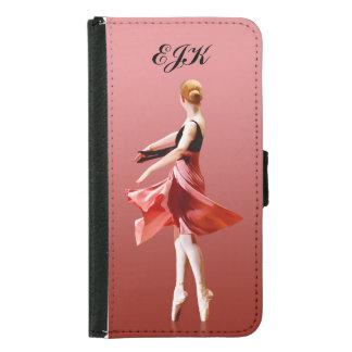 Graceful Ballerina On Pointe, Monogram Wallet Phone Case For Samsung Galaxy S5