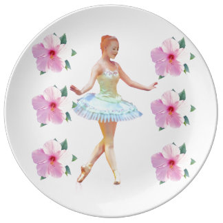 Graceful Ballerina with Red Hair, Flowers Dinner Plate
