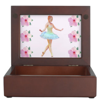Graceful Ballerina with Red Hair, Flowers Memory Box