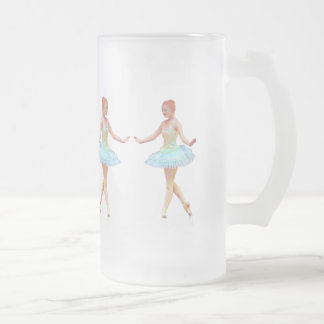 Graceful Ballerina with Red Hair Frosted Glass Beer Mug