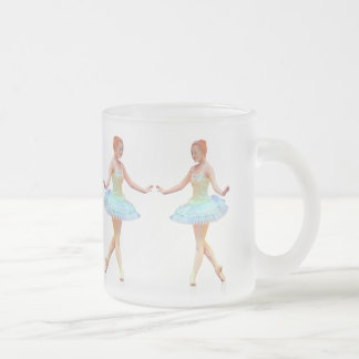 Graceful Ballerina with Red Hair Frosted Glass Coffee Mug