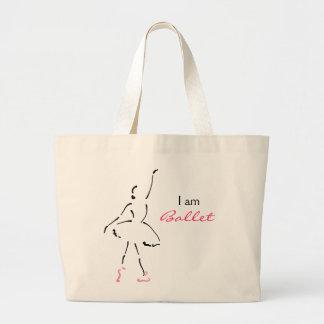 Graceful Ballet Dancer with Customizable Slogan Large Tote Bag