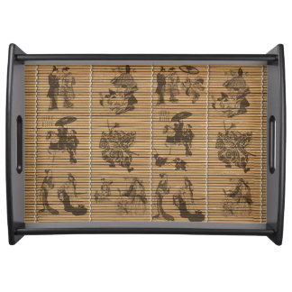 graceful Bamboo Look Custom pattern geisha samurai Serving Tray