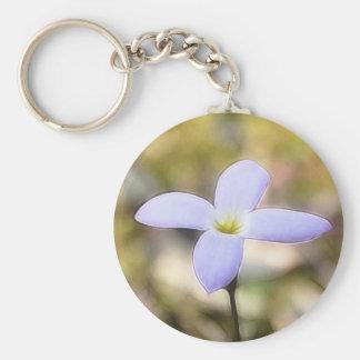 Graceful Bluet Flower Basic Round Button Keychain