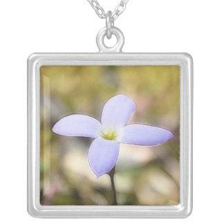 Graceful Bluet Flower Square Pendant Necklace