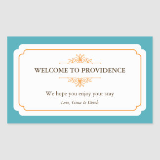 Graceful border orange blue out of town gift bag stickers
