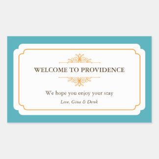 Graceful border orange blue out of town gift bag rectangular sticker