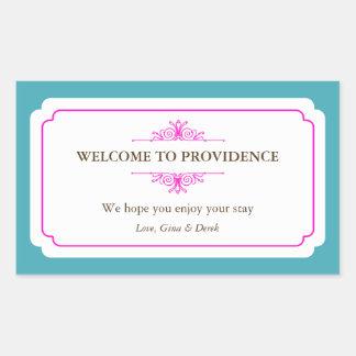 Graceful border pink blue out of town gift bag rectangular sticker