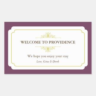 Graceful border plum purple out of town gift bag rectangular sticker