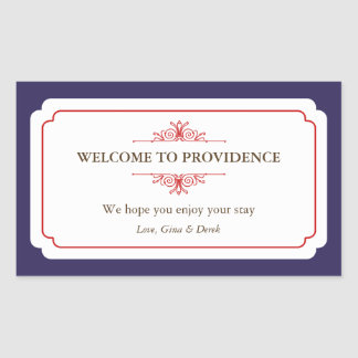 Graceful border red navy blue out of town gift bag rectangular sticker