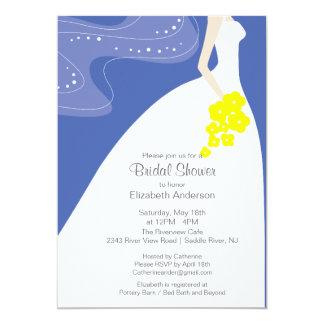 Graceful Bride Bridal Shower Invitation Blue