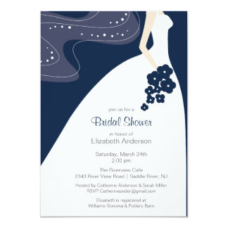 Graceful Bride Bridal Shower Invitation Blue
