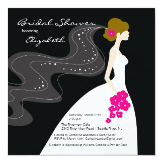 Graceful Bride Bridal Shower Invitation Hot Pink