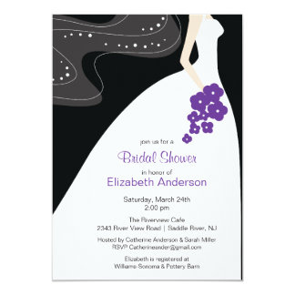 Graceful Bride Bridal Shower Invitation Purple