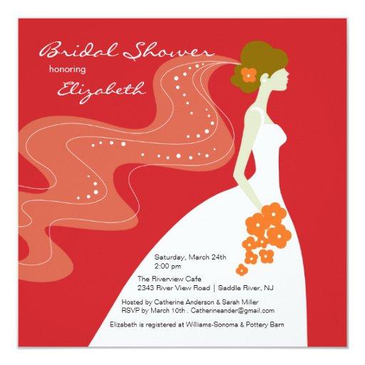 Graceful Bride Bridal Shower Invitation RED