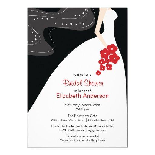 Graceful Bride Bridal Shower Invitation Red from Zazzle.com